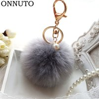 8cm Fluffy Rabbit Fur Ball Keychain Pearl Key Chain Fur Pomp...