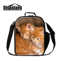 Scatola per il pranzo di snack isolato Totes For Little Baby Nursery School Bambino Ragazzi Alimentare Carry Cooler Container Bag con Water Pocket Cat Print