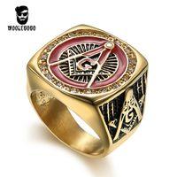 Voller VerkaufRed Emaille Masonic Ring Herren Strass Gold Ringe Vintage 316L Edelstahl Freimaurerei CZ Ring Punk Männer Schmuck Geschenk Bague