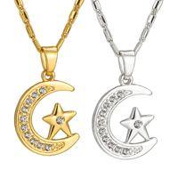 5PCS Оптовое золото / серебро цвет Мода Moon / звезда мусульманского кулона ожерелья для женщин исламского вероисповедания ювелирного дара