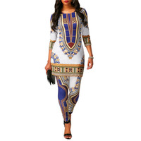 Frauen African National Totem Print Dashiki Zweiteiler mit Ärmel Long T Shirt Top + Hosen Leggings Indie Folk 2 Stück Outfits