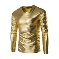 Neue Trend Metallic Golden T-Shirt Männer 2018 Nachtclub Mode Herren Slim Fit V-Ausschnitt Langarm T-Shirt T-Shirt Homme