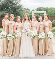 Bling à paillettes Bling Rose Gold Robes de demoiselle d'honneur pas chère Jeu de bijoux Col Casquette Manches Longueur Durée de ménage Honore Robe Ploits Robes de mariage