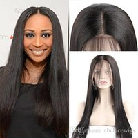 Lace Frontal Wigs Brazilain Straight Middle Part Pre Plucked...