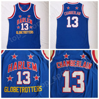 Harlem Globetrotters 13 Wilt Chamberlain Filme Basquete Jersey Venda Equipe Cor Azul Costurado Chamberlain Uniformes Alta Qualidade