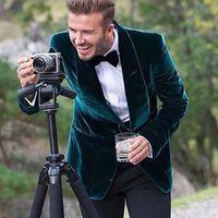 2018 캐주얼 스타일 녹색 벨벳 남자 정장 목도리 옷깃 하나 버튼 블레이저 웨딩 턱시도 맞춤형 코트 (자켓 + 바지)