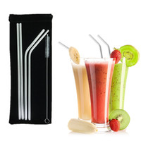 Reusable Drinking Straws 4+ 1 Stainless Steel Straws Set Pipe...