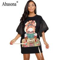 Abasona Femmes t Shirt Dress Été À Manches Courtes Imprimé Dentelle Robes Femmes Casual Lâche Mini Loose Dress Femme Vestidos