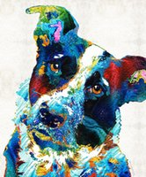 YJ ART colorful-dog-II Artwork Unframed современный холст стены искусства для украшения дома и офиса, живопись маслом, живопись животных, рамка картины