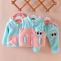 Mädchen Kleidung Set Winter Warme Weste Weste + Mantel + Hosenanzug Outfit Cartoon Mode Anzug Baby Mädchen 0-3years Kinder Kleidung