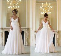 Grecian Backless Beach Brautkleider V-Ausschnitt Flowing Vintage Boho Brautkleid Eine Linie Vintage Griechische Göttin Hochzeitskleid Sommer