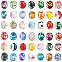 50 pz perline di vetro di colore misto fascini piuttosto europeo di vetro di Murano grande buco grande perline fascino misura per bracciali collana accessori dhl