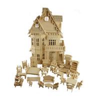 Jouet 3D Puzzle DIY Jeu cube Gothique Poupées Maison Échelle En Bois Modèles 1 Ensembles = 1 * Maison + 34 * pcs Meubles 30 * 18 * 45 CM