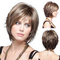 Фабрика прямой Capless Новый Стильный Короткие Прямые Mix Цветные Волосы Леди Синтетические Полные Парики Fashion Party парик