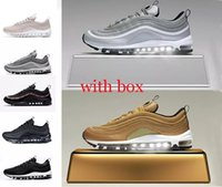 with box 97 shoes Triple white black pink Running shoes Og M...