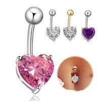 Sıcak satış kalp şekli göbek yüzükler kadınlar için seksi piercing göbek düğme halkaları vücut takı