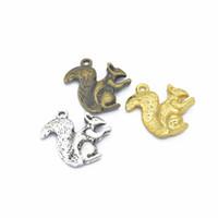 Bulk 200 szt. Wiewiórki Charms Wisiorek Antyczne Srebro, Antyczne Brąz, Złoto 21 * 18 mm Dobry dla DIY Craft, Biżuteria
