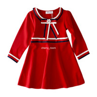 2018 New Kids Girls designer Dresses Autumn Stripe Pearl Bow...