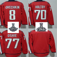 Patch de la Coupe Stanley 2018 bon marché Patch final Femmes Kid Washington Capitals 8 Alex Ovechkin 70 Braden Holtby T.J. Chandails de hockey blancs Oshie