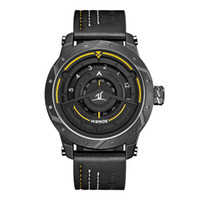 WEIDE  Analog Display Men Sport Watch Leather Bracelet Strap Quartz Black Watch Waterproof No Pointer Dial Quart Wristwatc