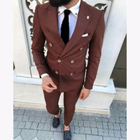 High Quality Groom Tuxedos Double Breasted Brown Peak Lapel Groomsmen Best Man Suit Mens Wedding Suits (Jacket+Pants+Tie) 364