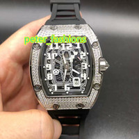 Automatic mechanical mens watches silver diamond case luxury...