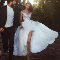 7ebe73811504 Abiti da sposa economici in chiffon A-Line See Through Abito da sposa senza  maniche