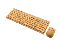 Clavier et souris en bambou multimédia sans fil Combo 2.4G protection de l'environnement en bambou à faible teneur en carbone sains pour l'utilisation de DHL gratuit