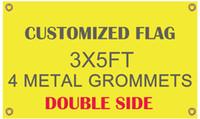 Venta al por mayor Impresión digital Bandera personalizada Bandera Diseño de vuelo Lado doble 3x5 pies 100D Banderas de poliéster con ojales de metal