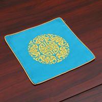 Broderie Joyeux Chinois En Soie Vintage Set De Placards Bol Carré Table De Repas Tapis De Mode Simple Protection Isolant Pad 26x26 cm