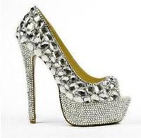 2018 mujeres peep toe bombas bombas de diamantes de imitación sexy plataforma de tacón delgado zapatos de la boda señora diamante tacones altos zapatos de vestir