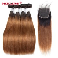 Pre - colored Hair Weave 4 Bundles With Closure 4x4 1B 30 Dar...