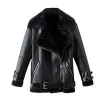 가짜 가죽 스웨이드 코트 블랙 가죽 자켓 겨울 따뜻한 어린 양 모직 모피 칼라 스웨이드 재킷 양털 코트 여성