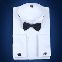 Erkek Fransız Manşet Smokin Gömlek Katı Renk Kanat İpucu Yaka Gömlek Erkekler Uzun Kollu Elbise Gömlek Resmi Düğün Damat