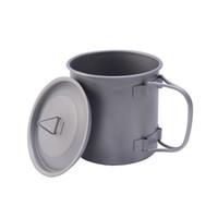 400ml Tazza d'acqua in titanio per esterni da 400 ml Tazza tazza con coperchio e maniglia pieghevole Pot da campeggio Pentole da cucina Picnic Hang Pot