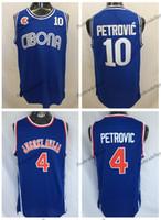 Mens Vintage Croácia # 10 Cibona Drazen Petrovic Jerseys Barato Drazen Petrovic # 4 Jugoslavija Jugoslávia Croácia Costura Camisas