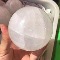Darmowa Wysyłka Duży Rozmiar Naturalne Białe Kamienie Kalkie Kula Islandia Spar Kula Kula Kwarcowy Kwarcowy Kryształ Energia Mineralna Próbka