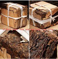 Sıcak Satış 250g Yunnan Klasik Siyah Puer Çay Tuğla Olgun Puer Organik Doğal Pu'er Çay Eski Ağaç Pişmiş Pu'er Çay Bambu Kabuk Ambalaj