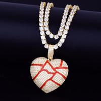 Männer Defektes Herz-hängende Halskette mit 4mm Tennis Kette gefrieren heraus KubikZircon Hip Hop Schmuck Geschenk Gold-Silber-Farben