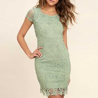 Water - soluble lace lace fashion Mosaic back summer dress