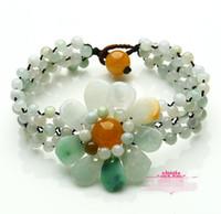 Birma Jade Sun Kwiat Jade Bransoletka Zroszony Chiński Styl Kobiety Jade Biżuteria
