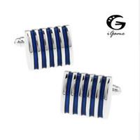I gemelli di iGame 1 accoppiamento degli uomini di vendita al dettaglio 4 opzioni di colori blu rosso nero rosa Brass Fashion Design Business Stripes Spedizione gratuita