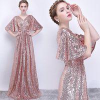 Вечерние платья розовое золото блестками складки Половина рукава глубокий V-образным вырезом длинные платья выпускного вечера Vestido Fiesta Noche Elegante