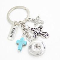 새로운 도착 도매 18mm 스냅 쥬얼리 영감 신앙 열쇠 고리 핸드백 매력 스냅 키 체인 크로스 열쇠 고리 발레 연인 소녀를위한 선물