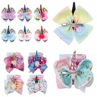8 Inch Unicorn Barrettes kids Bowknot Hairpins Girls Hairpin...