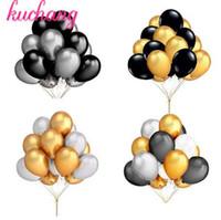 30 adet / grup 10 inç Inci Altın Gümüş Siyah Beyaz Lateks Balonlar Doğum Günü Düğün Parti Aralık Helyum Globos Çocuklar Hediyel ...