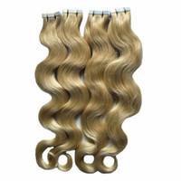 Ruban blonde dans les extensions de cheveux humains EXTENSIONS WAVE Machine Remy Cheveux de Remy sur les adhésifs Ruban invisible PU Skin The Remy Remy Extensions de cheveux 200G 80pcs