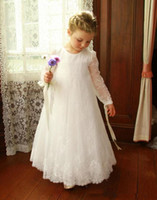 Overall Lace Flower Girl Dress with Long Sleeves Formal Occa...