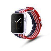 Pour Apple Watch Rainbow Nylon Band American Flag Iwatch Bands Série 1 / 2/3 / 4/5 / 6 / SE Sports Unisexe avec boucle en acier inoxydable