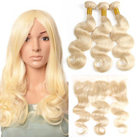 Cheap Brazilian Virgin Human Hair Body Wave 613 Blonde Bundl...